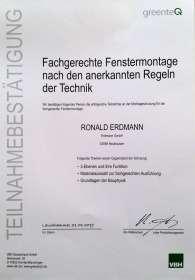 Zertifikat fachgerechte Fenstermontage