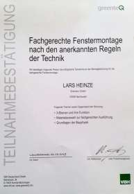 Zertifikat Fenstermontage